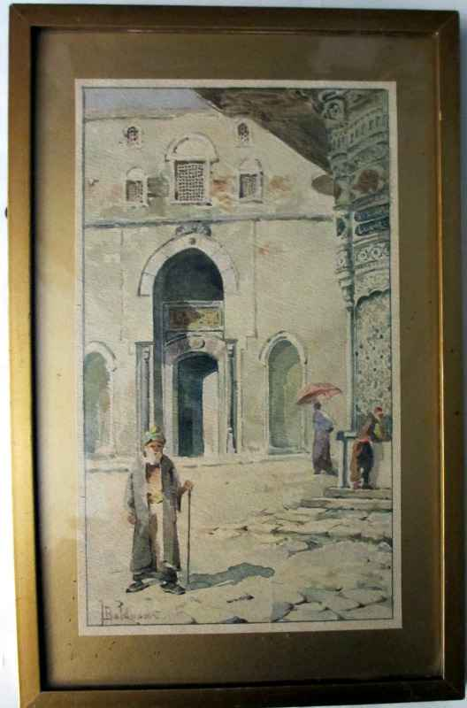 Cairo Street Scene signed T. Baldasar. c1900. Framed and glazed.