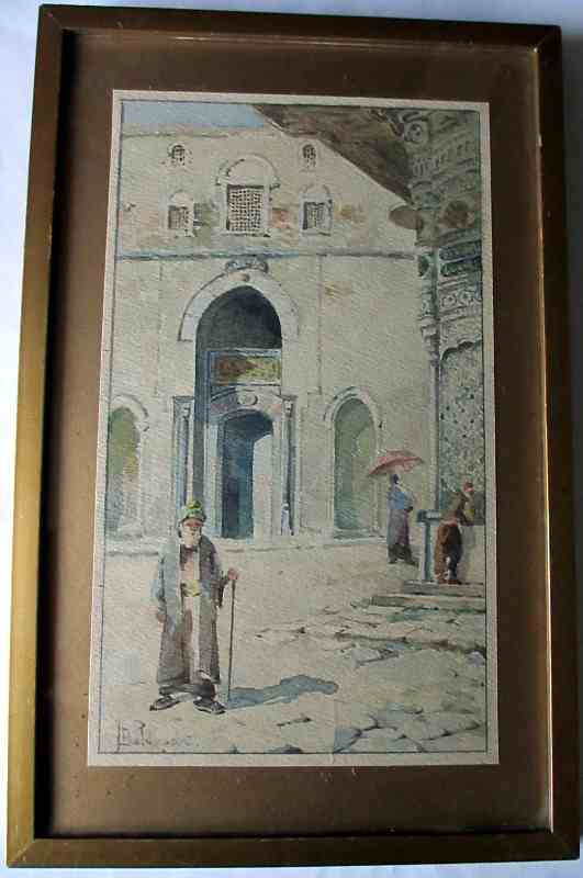 Cairo street scene with figures outside a mosque signed T. Baldasar. c1900.
