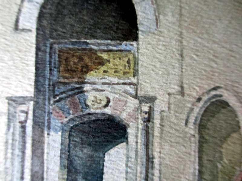 Script over doorway.