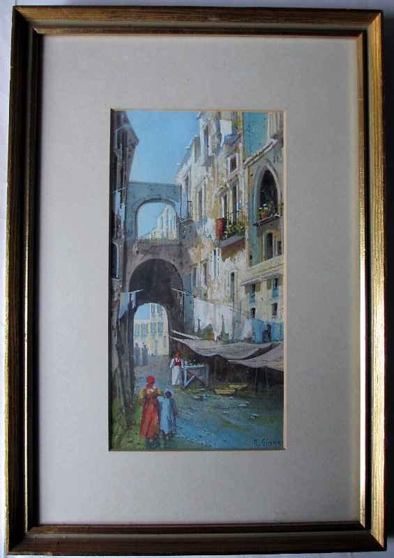 Neapolitan Street Scene signed Y. Gianni. c1900.