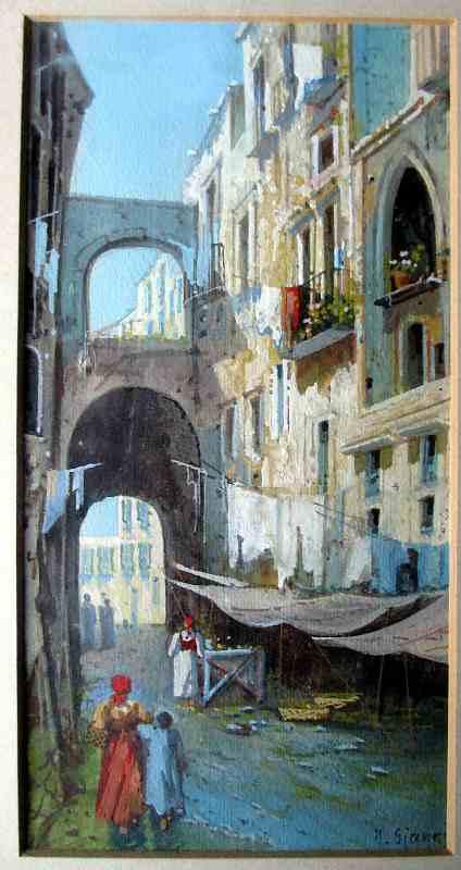 Neapolitan Street Scene signed Y. Gianni, in detail.