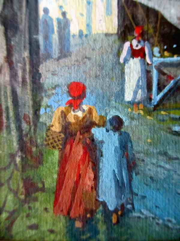 Neapolitan Street Scene signed Y. Gianni, with detail of the figures.