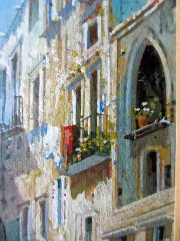 Neapolitan Street Scene with detail of the balconies.