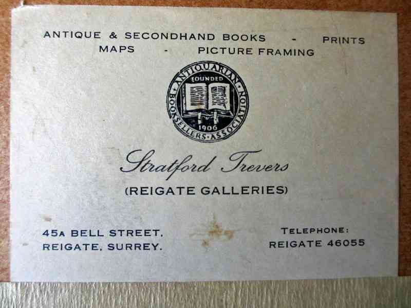 Reigate Galleries, the framer's label, in detail.
