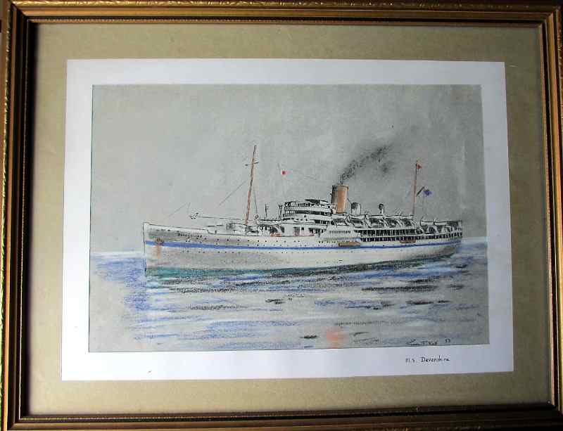 M.S. Devonshire, Bibby Line, pen, ink and pastel drawing signed Gordon T. Kell, 1953.