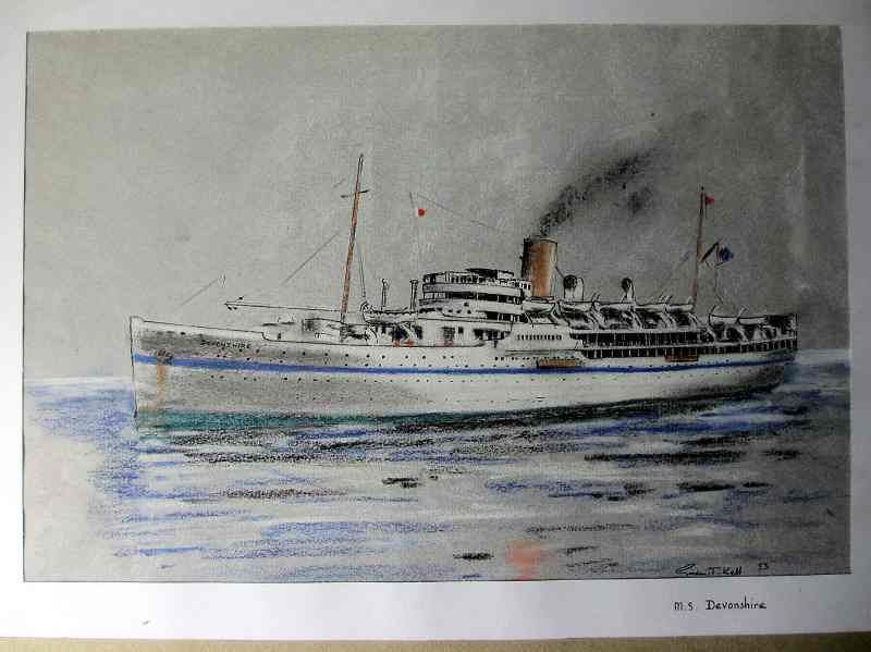 M.S. Devonshire, troopship, pen, ink and pastel drawing signed Gordon T. Kell 1953 in detail.