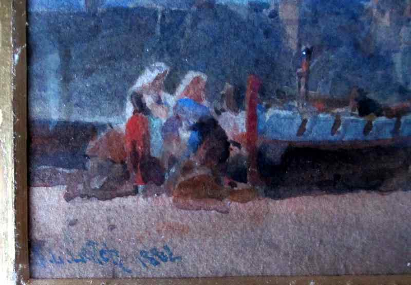 Coast Scene with Figures signed W.L. Leitchm 1883.