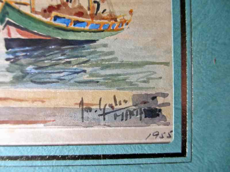 Joseph Galea's signature on the Custom House watercolour 1955.