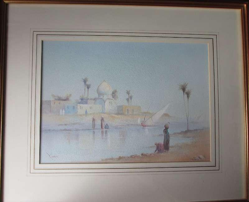 Arabian river scene with figures signed R. Cooper c1900.