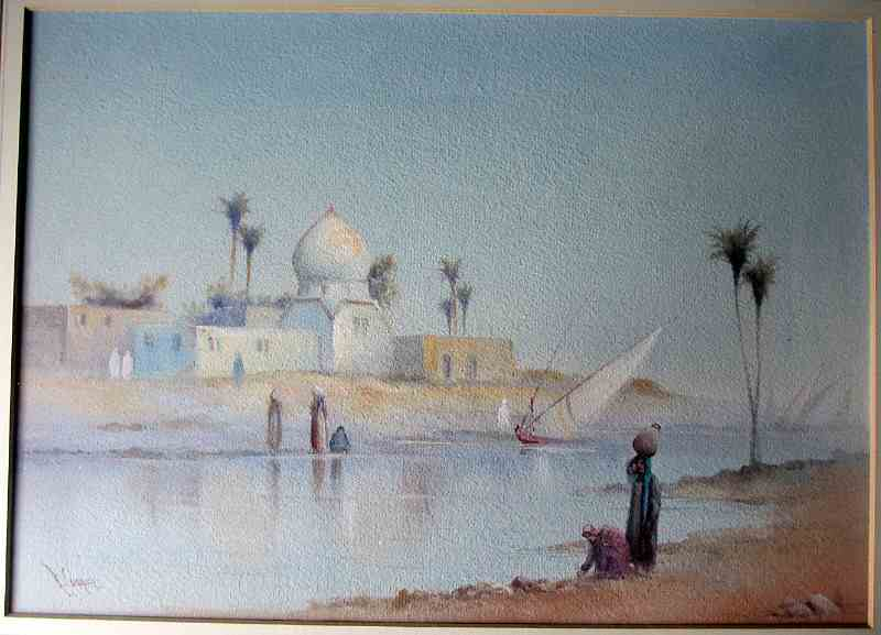 Arabian river scene with figures signed R. Cooper in detail.