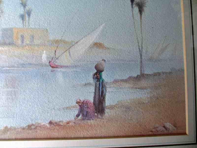 Arabian river scene signed R. Cooper. Figures in detail.