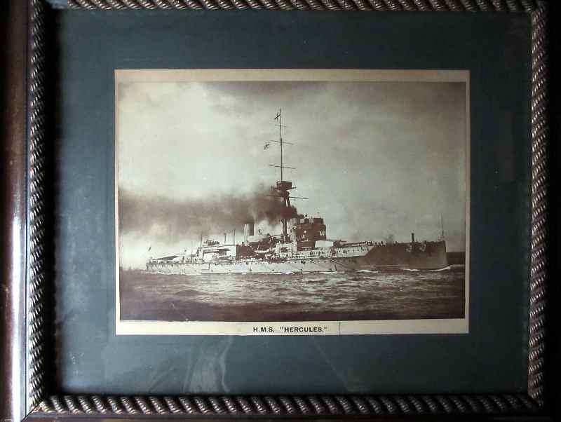 HMS Hercules, photograph, framed and glazed. c1917.