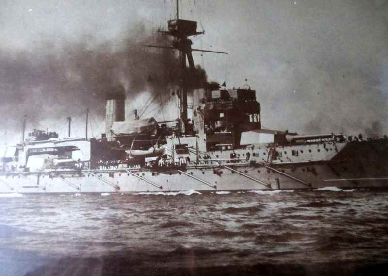 HMS Hercules midships detail. c1917.