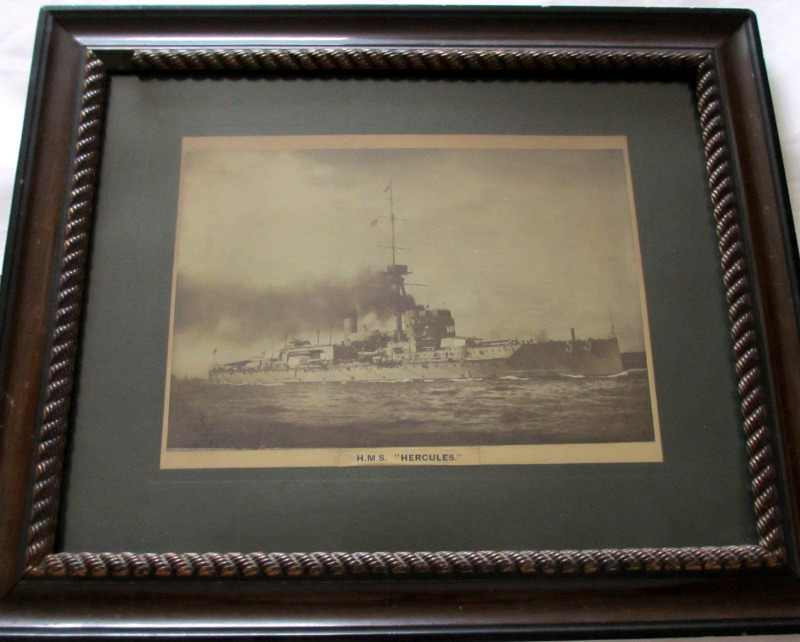 HMS Hercules c1917. overall image of the framed photograph.