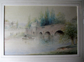 Chertsey Bridge, Dockett Eddie, Shepperton, signed Frederick J. Townsend, pencil drawing and watercolour. c1870. Framed and glazed.