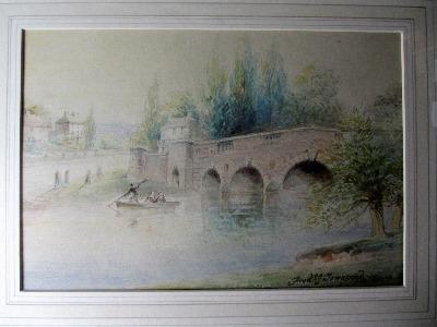 Chertsey Bridge, Dockett Eddie, Shepperton, signed Frederick J. Townsend, p