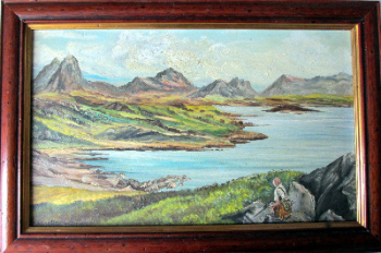 Above the Bay of Stoer, near Lochinver, signed Colin MacRae, Jan 2nd 1979. Oil on board.  SOLD.