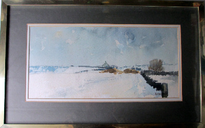 Winter Landscape, Howes Lane, Coventry, signed R.G. Britteon. c1970.
