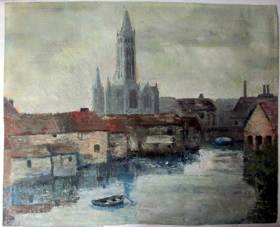 Ulm Minster, Bavaria, oil on paper. c1860. Signature verso.