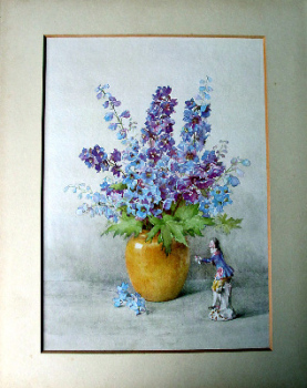 Delphinium and Meissen, open edition print. c1960.