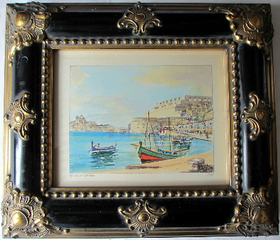 Grand Harbour, signed Jos. Galea, Malta, 1961. Watercolour on paper.  SOLD