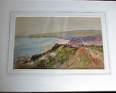 Robin Hood's Bay, watercolour on paper, signed Michael Crawley. c1980.