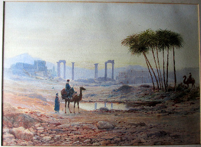 North African Oasis, watercolour on paper, signed John Wilson Hepple, 1915.