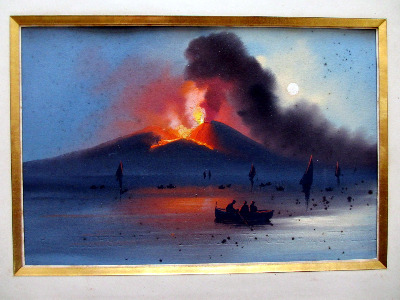 Vesuvius Eruption, Neapolitan School, gouache on paper, unsigned. c1906.