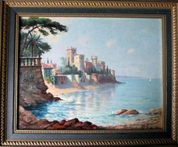 Le Chateau de la Napoule (Cote' Sud - Est), Cote d'Azur, signed G. Baffert. 1949.   SOLD.