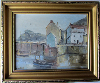Polperro Harbour, Cornwall, signed Joan Peet. c1980.