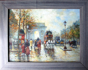 Arc de Triomphe, Paris, oil on board, unsigned. c1990.