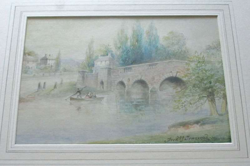 Chertsey Bridge - at Sunset signed Frederick J. Townsend, c1870.