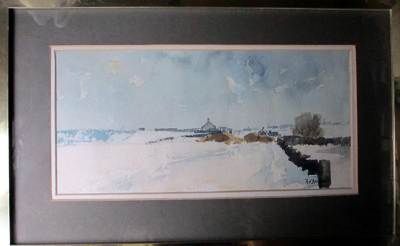 Winter Landscape, Howes Lane, signed R.G. Britteon. c1970.