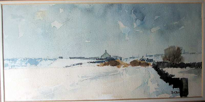 Winter Landscape, Howes Lane, signed R.G. Britteon, in detail.