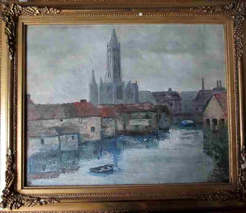 Ulm Minster, signed verso M. Leek. c1860.