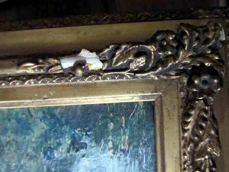 Ulm Minster, signed verso M. Leek. c1860. Damage and wear to frame.