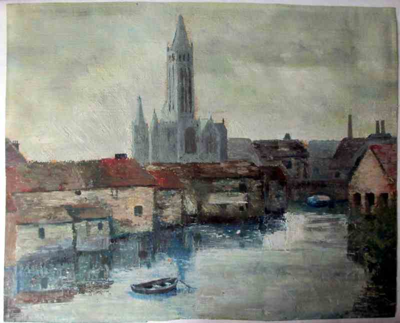 Ulm Minster, signed verso M. Leek. c1860. The painting as removed from the frame.