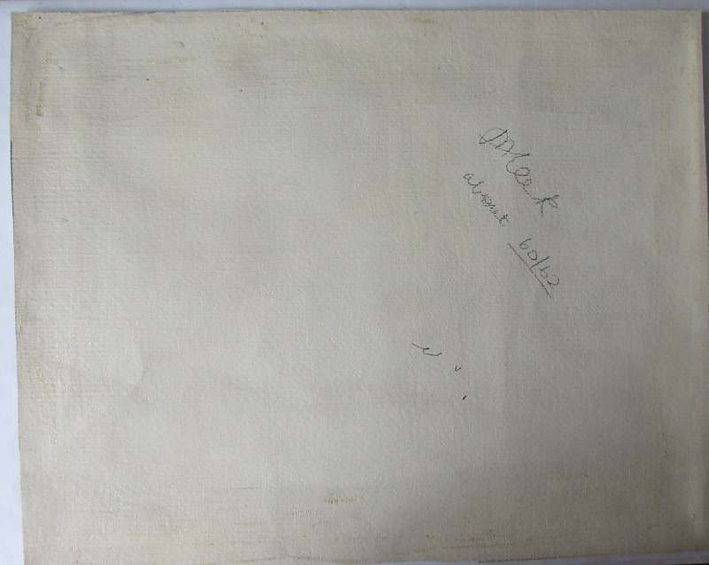 Ulm Minster, signed verso M. Leek. c1860. The painting's base verso with signature and date.