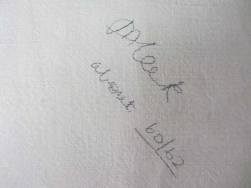 Ulm Minster, signed verso M. Leek. c1860. Detail of the handscript signature.