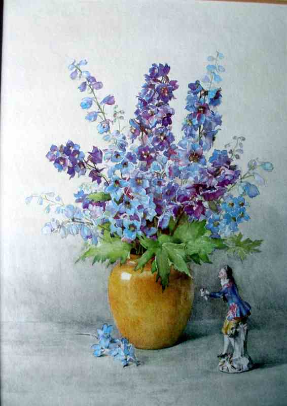 Delphinium and Meissen, Open-Edition print c1960. Detail.