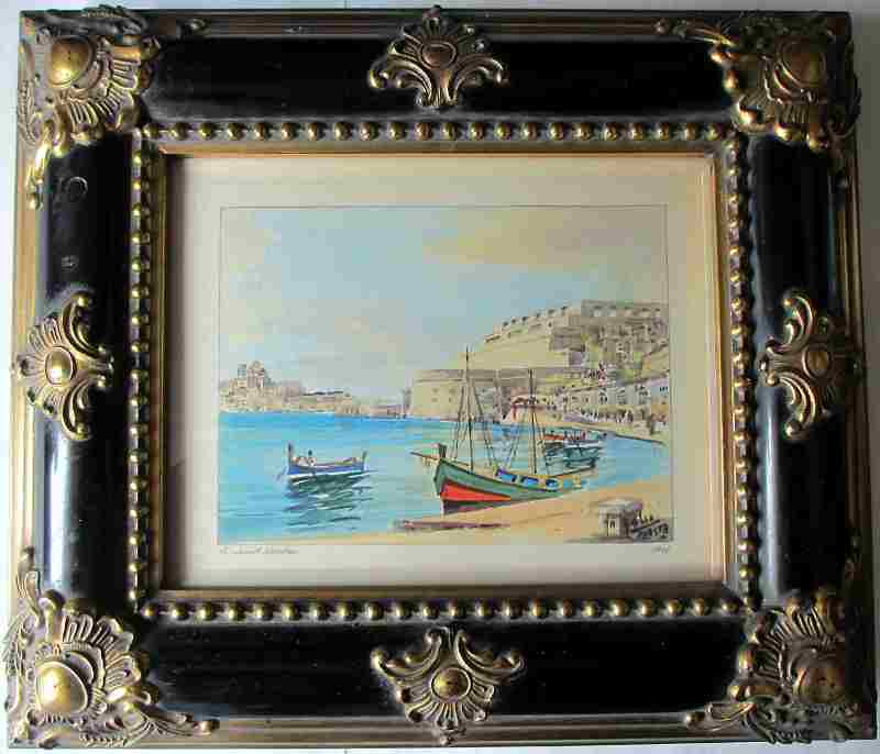 Grand Harbour, signed Jos. Galea, Malta, 1961.