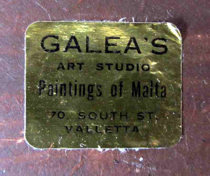 Galea's Art Studio label in detail.