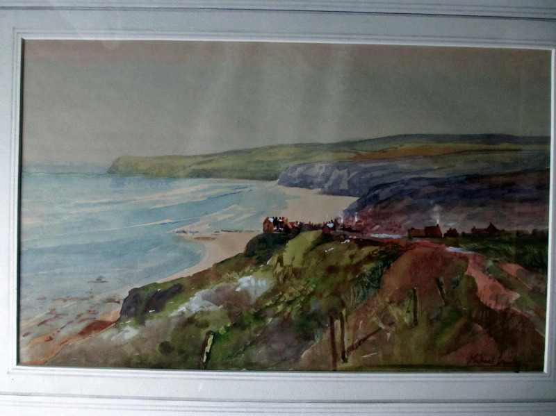 Robin Hood's Bay signed Michael Crawley c1980. In detail.