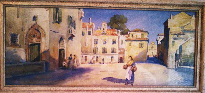 Giovanni Barbaro watercolour, possibly an Amalfi street scene. c1890.