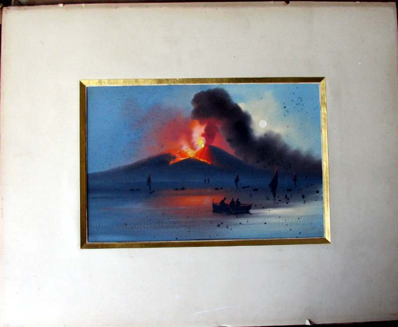Vesuvius Eruption, gouache on paper, unsigned. c1906.