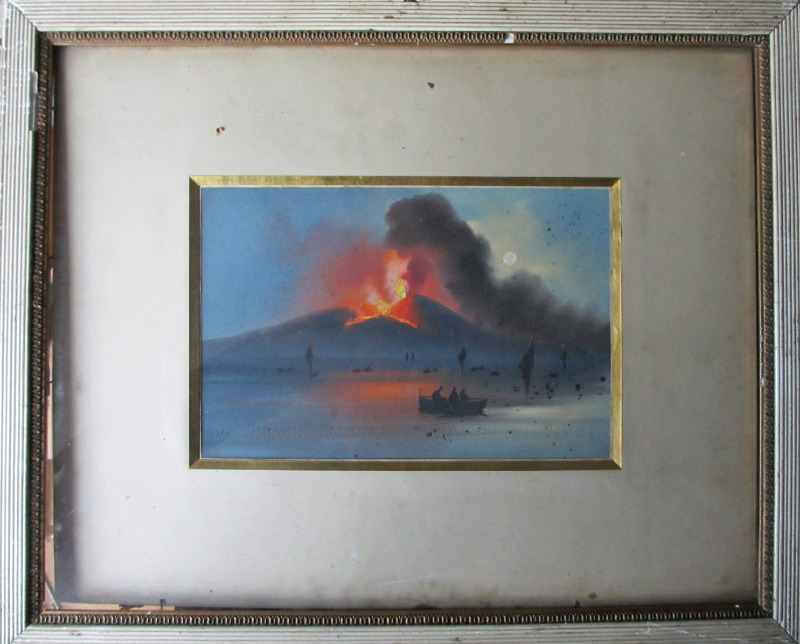 Vesuvius Eruption, gouache on paper, unsigned. c1906. In the glazed frame
