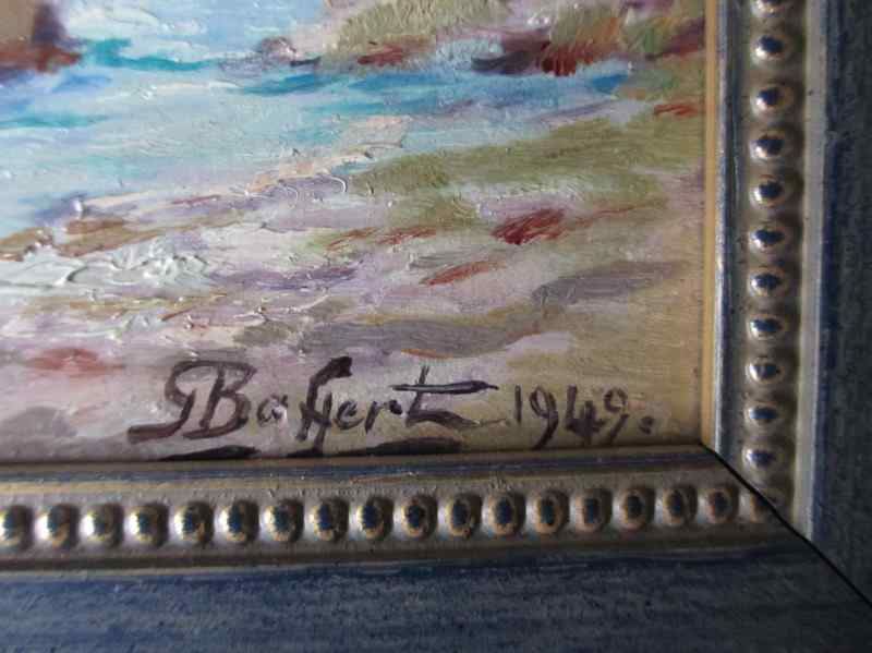 Le Chateau de la Napoule signed G. Baffert. 1949. Oil on board. The signature.
