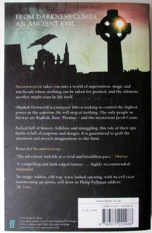 Shadowmancer by G.P. Taylor. Limited Edition 8/20, signed by the author 2003. Back cover.