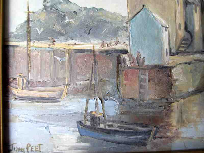 Polperro Harbour Cornwall, signed Joan Peet, oil on board. c1980. Detailed view.