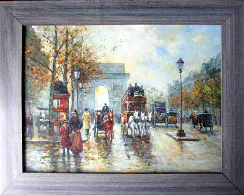 Arc de Triomphe, Paris, oil on board, unsigned. c1990.